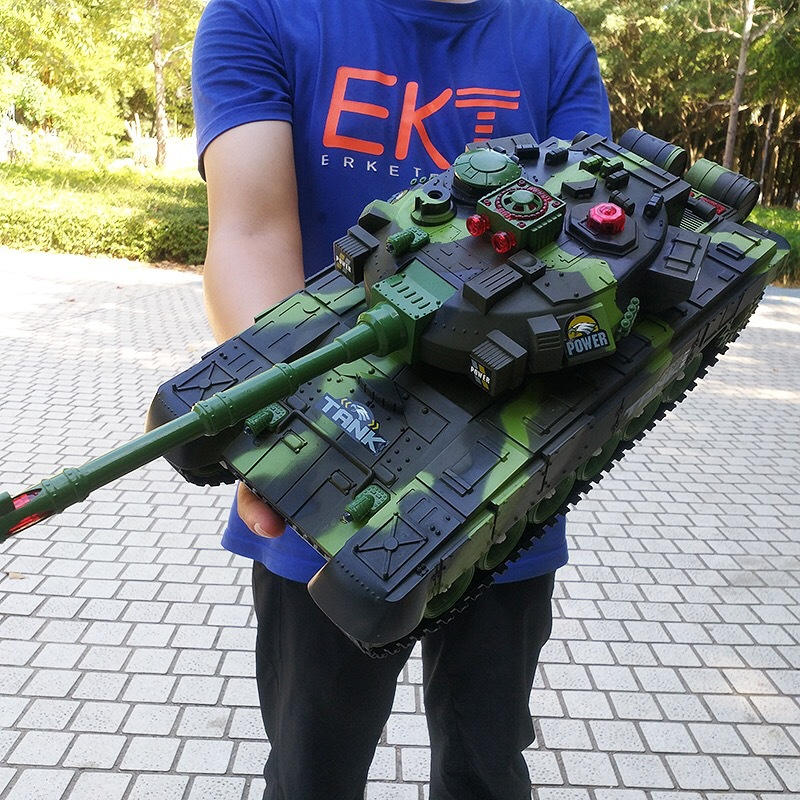 RC Big Tank Charger Battle Launch Cross-country Tracked Tank Model Boys Play Military Toy For Kids Children Xmas Gifts