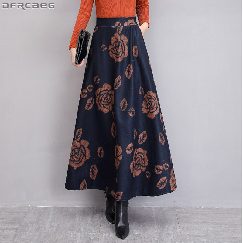 Retro Europe Style Long Skirts For Women Vintage Winter Velvet Wool Skirt Plus Size Stretch Maxi Skirt High Waist A-line Faldas