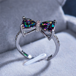 Cute Female Big Bowknot Zircon Stone Ring Simple Purple Blue Red Rainbow Wedding Ring Rose Gold Love Engagement Ring