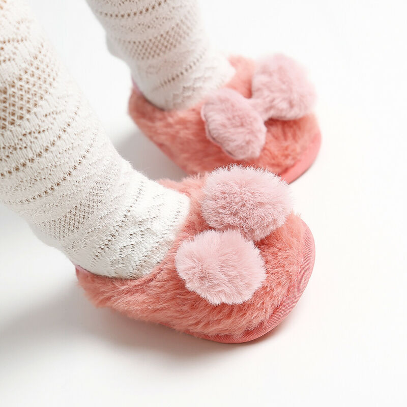 Pudcoco Newborn Toddler Baby Boys Girl Infant Slippers Slides Soft Faux Bow Soft Crib Elastic Winter Warm Plush Shoes 0-18M