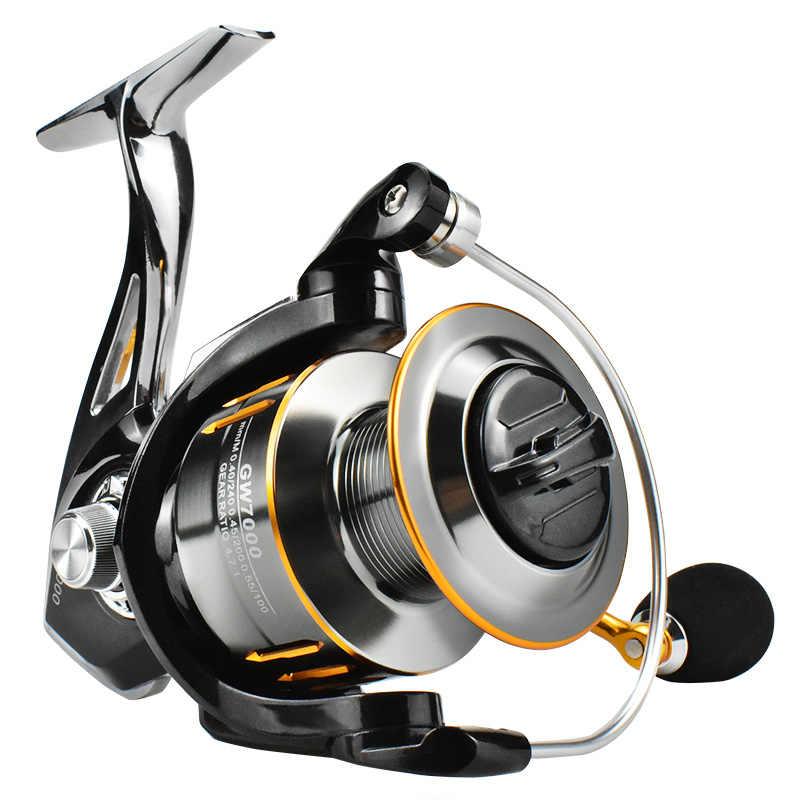 Спиннинг рыболовная Катушка GW1000-7000 Series14 + 1BB 5,2: 1/4.7:1 Высокая Скорость все металлическая Рыболовная катушка соль щит несущая катушка