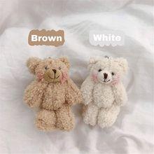 Мини шарнир медведь мягкие плюшевые игрушки 4,5 дюйма милый плюшевый медведи кулон куклы подарки день рождения свадьба вечеринка декор B36E