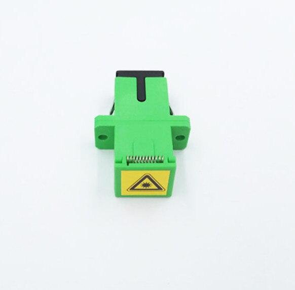 Sc/apc Connector Auto Shutter Sidewise Dust Cap Simplex Green Plastic Housing With Flange Fiber Sc Apc Adapter