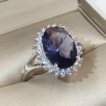 цена на Big Blue Zircon Stone Silver Rings for Women Wedding Engagement Fashion Jewelry 2019 New