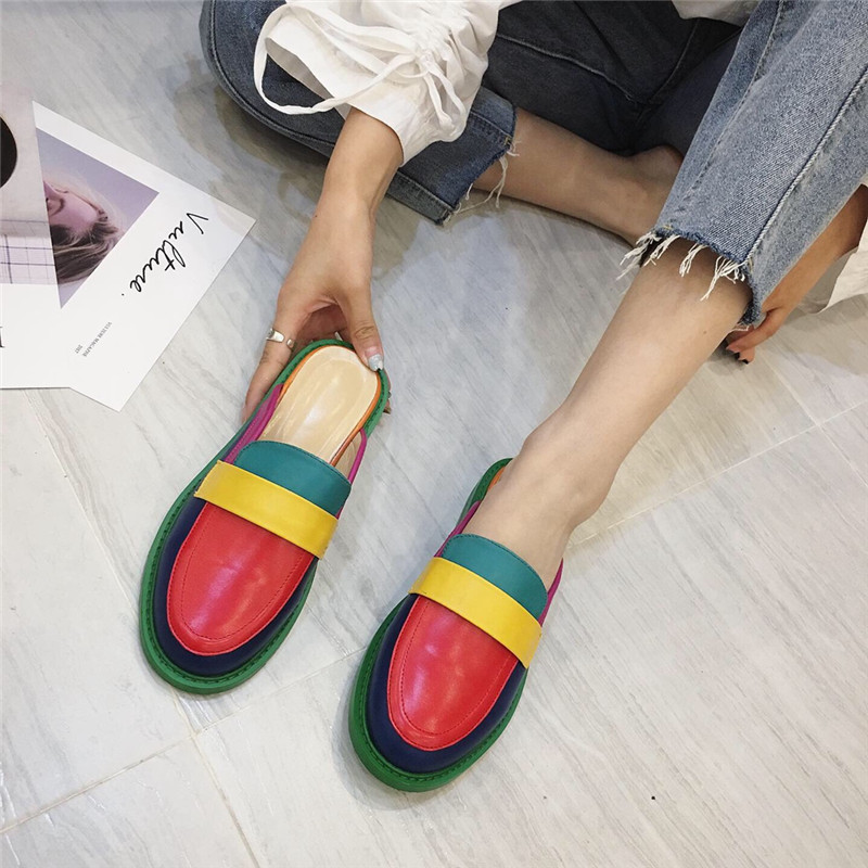 NIUFUNI Fashion Rainbow Color Women's Slippers Shallow Casual Slides Round Head Flat Shoes Slip On 2020 Summer Beach Shoes 2