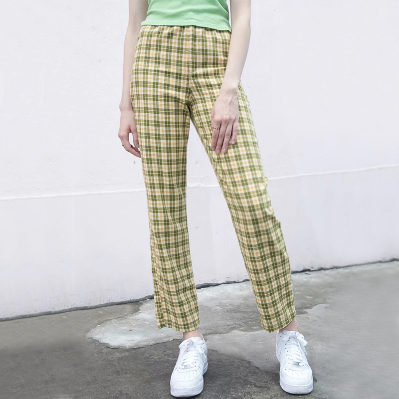 Women High Rise Elasticated Waist Checked Straight Pants In Green