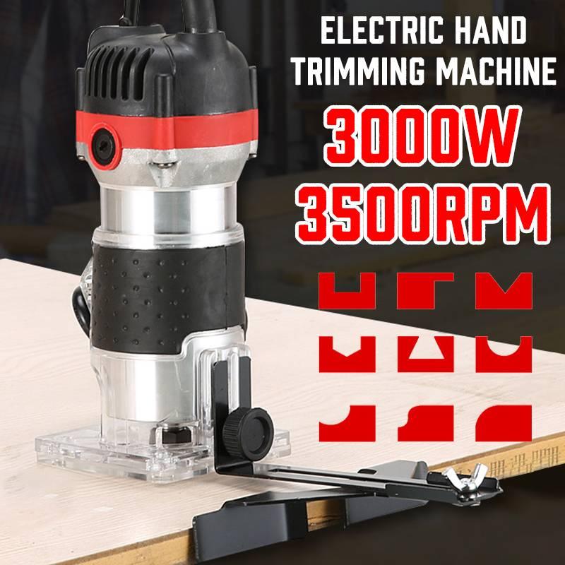 3000W 3500rpm Holzbearbeitung Elektrische Hand Trimmer Laminat Palms Holz Router Pvc-h-streifen Schreiner Carving Maschine Power Tools Kit 220V