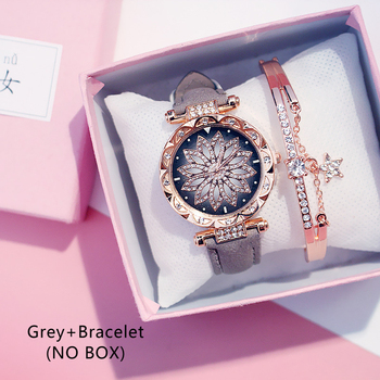 Casual Women Romantic Starry Sky Wrist Watch bracelet Leather Rhinestone Designer Ladies Clock Simple Dress Gfit Montre Femm - Grey And Bracelet