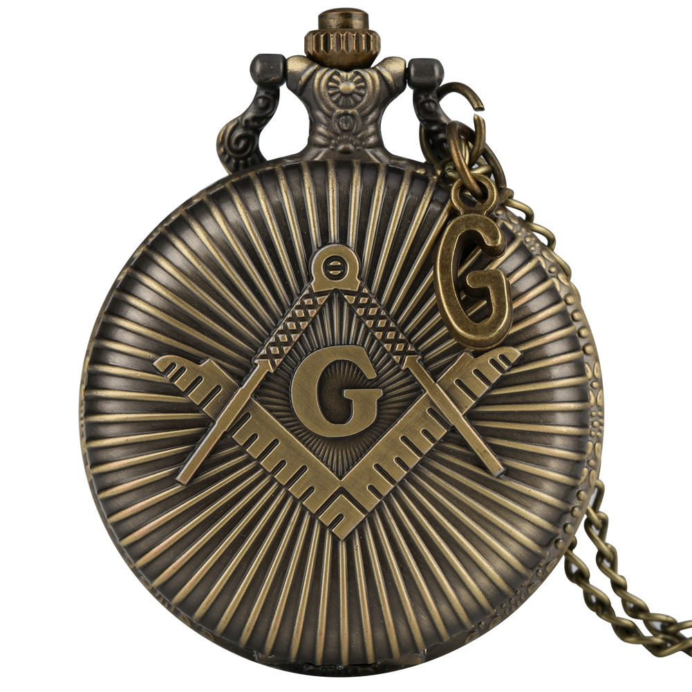 Classic Bronze Pocket Watch Men Delicate Freemasons With G Accessory Masonic Watches Slim Chain Pendant Reloj Masonico Accessory