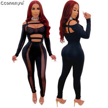 Sexy Solid Hollow out Jumpsuits 2019 Sexy Bandage Backless Lace-Up Rompers Tights Female Jumpsuits(China)