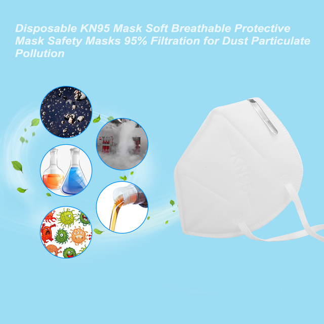 Disposable N95 infection Mask Soft Breathable Protective Mask Safety Masks 95% Filtration for Dust Particulate Pollution Safe 5
