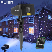 ALIEN 7 Color Motion Static Outdoor Christmas White Star Laser Projector Lights Holiday Waterproof Xmas Tree Garden Shower Light