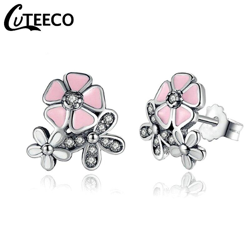 Cuteeco Cute Silver Pan Earrings Poetic Daisy Cherry Blossom Stud CZ Pink Flower For Women Wedding