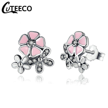 Cuteeco Cute Silver Pan Earrings Poetic Daisy Cherry Blossom Stud CZ Pink Flower For Women Wedding