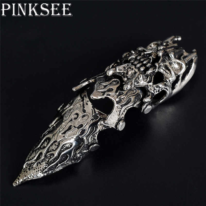 Fashion Punk Rock Gothic Spike Double Ring Full Finger Scroll Knuckle Armor Ring