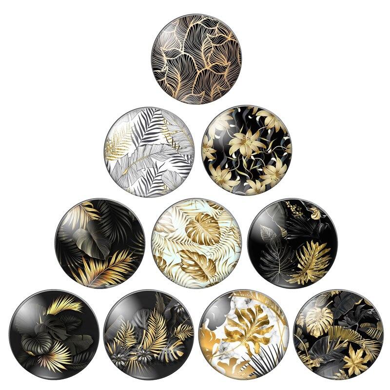 Золотые тропические листья растения 12 мм/14 мм/16 мм/18 мм/20 мм/25 мм круглые фото стеклянные кабошоны демонстрационные изделия с плоской задней ...