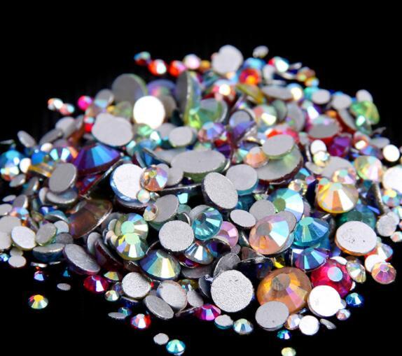 350 шт, 5 грамм, смешанные размеры, ss3-ss30, синий/зеленый/розовый/белый опал, 3D хрустальные стразы для дизайна ногтей, плоские с оборота стеклянные украшения для ногтей - Цвет: Mix AB clors