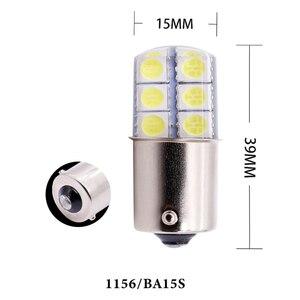 Image 5 - 1pc S25 1156 BA15S p21w 1157LED Weiß Lichter 5050 12SMD Silica gel DC12V Auto Hinten Schwanz Parkplatz Licht bremse lampe blinker Birne