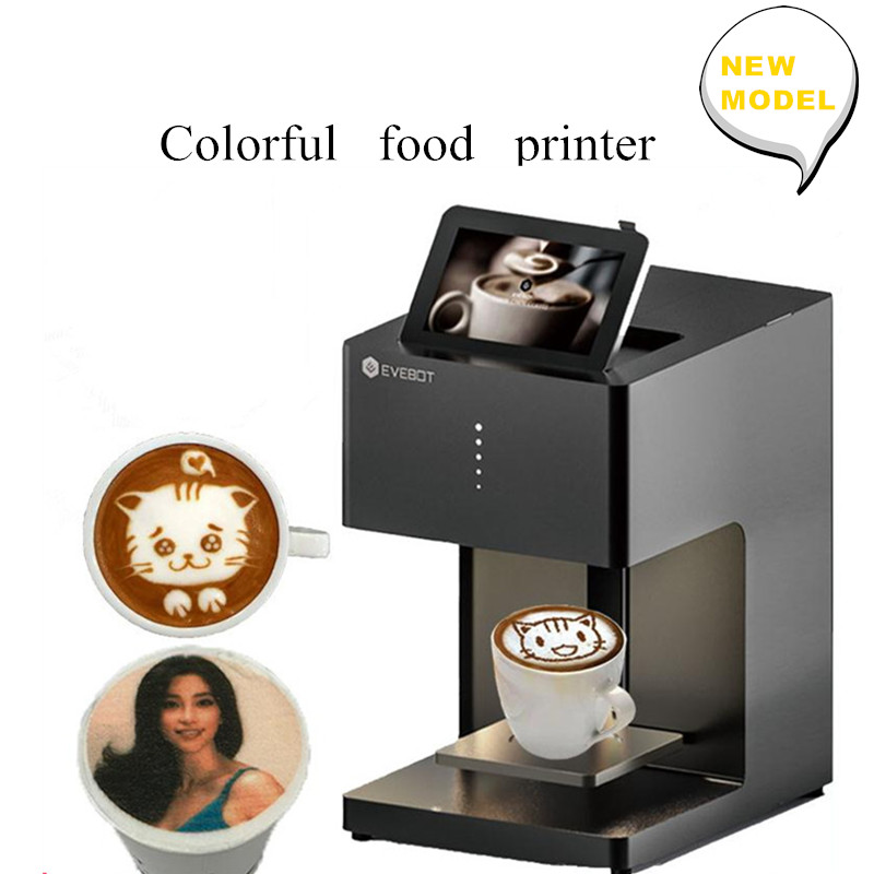 Original EVEBOT Color Coffee Printer Wifi Connection Automatic Selfie Biscuit Coffee Food Printer Complimentary Ink Cartridges