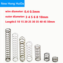 20pcs 0.4 0.5mm Wire Dia OD 3 4 5 6 7 8 9 10mm Y-type Rotor Return Compression Pressure spring 10-50mm 304 Stanless Steel