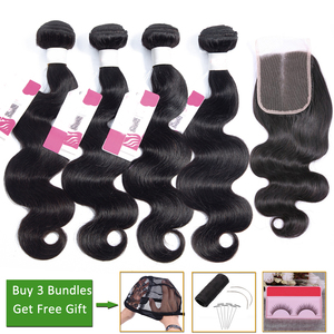 LEVITA body wave bundles with closure Brazilian hair weave bundles and closure Peruvian human hair bundles with closure non-remy