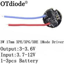 Pilote 3W 1 Mode, 1 pièce, 5 pièces, 17mm, 3.7-12V DC, pour CREE/XPE /XBD, tous types de lampes 3W