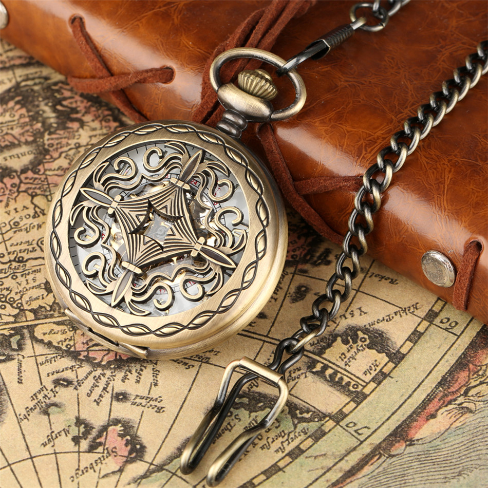 Exquisite Hollow Cover Bronze Mechanical Pocket Watch Arabic Number Skeleton Pendant Pocket Watches Hand Winding Retro Clock