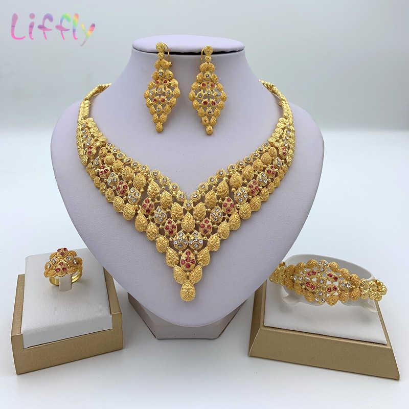 Mode Charme Afrikanische Braut Ohrringe Ring Tropfen Schmuck Sets Klassische Hochzeit Dubai Halskette Armband für Frauen Schmuck Set