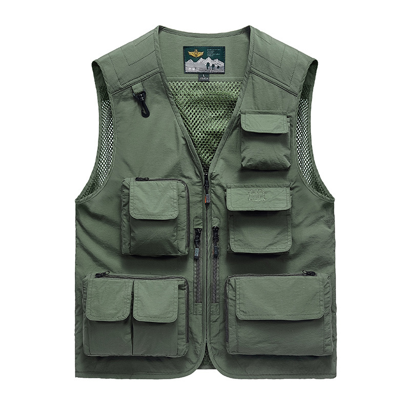 Summer Men's Vest Spring New Mesh Multi-pockets Military Vest Fishing Tooling Vests for Men Chaleco <font><b>Hombre</b></font> Weste Plus Size M-<font><b>6XL</b></font> image