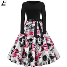Robe Pin Up Vintage Dress Winter 2019 Skull Print Halloween Dress Women Long Sleeve 50S 60S Rockabilly Party Dresses Big Swing(China)