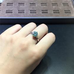 Classique 4 griffes rond brillant coupe 2 carats D couleur vert Moissanite bague diamant Test passé étincelant pierres précieuses anneaux pour les femmes