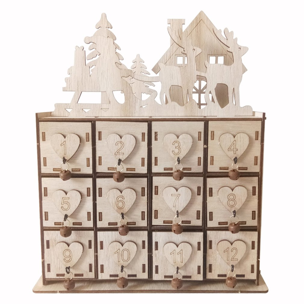 Wood Heart Christmas Advent Calendar Storage Box House Christmas Deer Decoration DIY Ornaments Christmas Jewelry Box