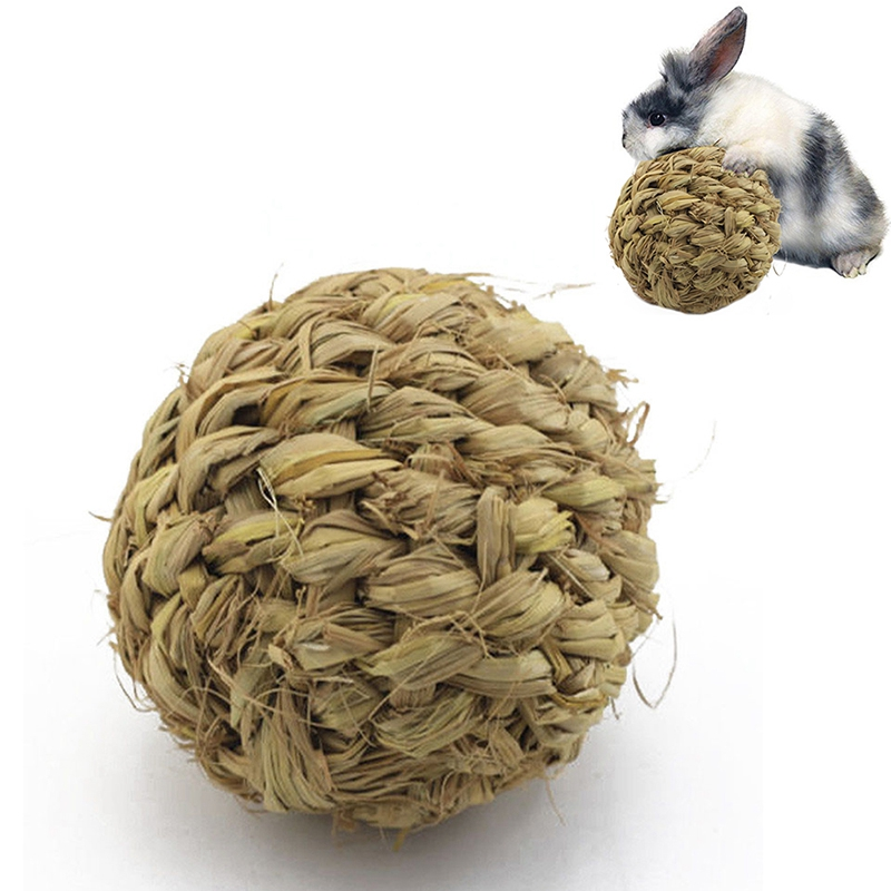 Pet Chew Toy Natural Grass Ball With Bell For Rabbit Hamster Guinea Pig Tooth Cleaning