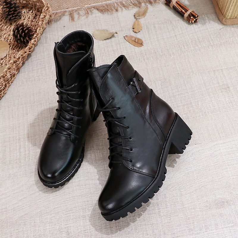 GKTINOO Women Ankle Boots Genuine Leather Side Zipper Shoes Woman High Heels 2020 Fashion Winter Motorcycle Boots Shoes