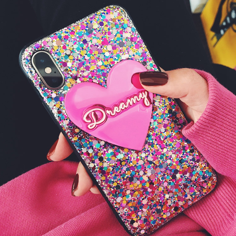 for iphone 11 pro 7 8 plus XR XS MAX for samsung S20 Ultra S8 S9 s10 note 10 Unique Heart Custom name Laser Glitter Phone case