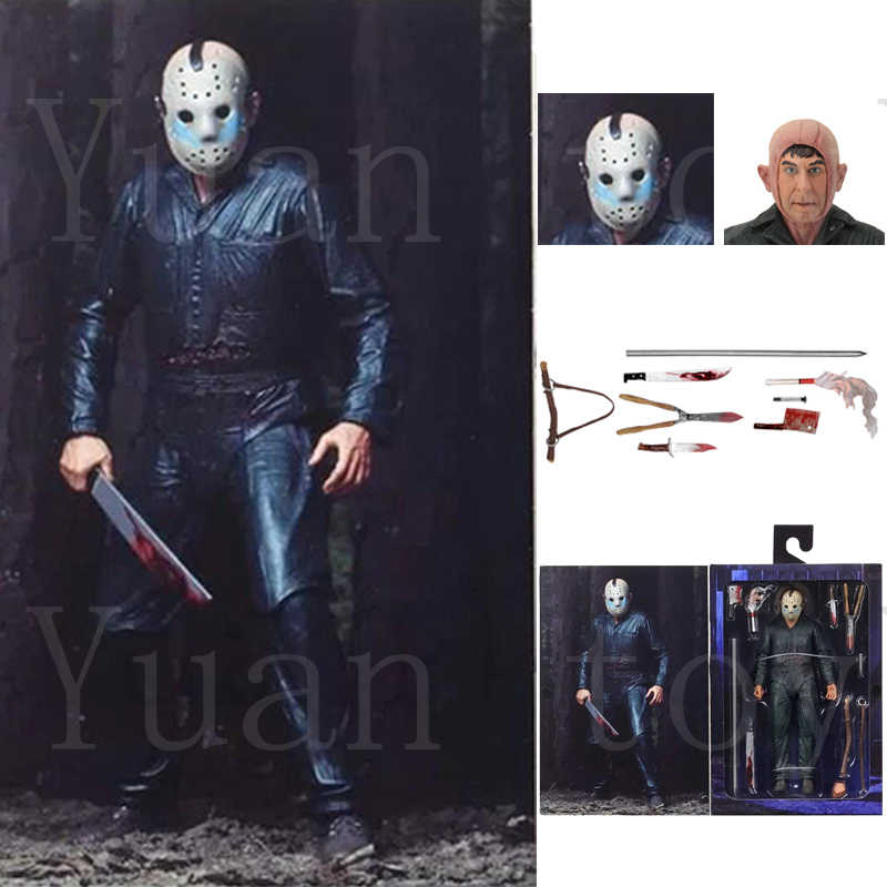 7 polegada Com LED Original NECA Friday the 13th Jason Parte Final 5 Roy Queimaduras Figura de Ação Brinquedo de Halloween Horror boneca de Presente