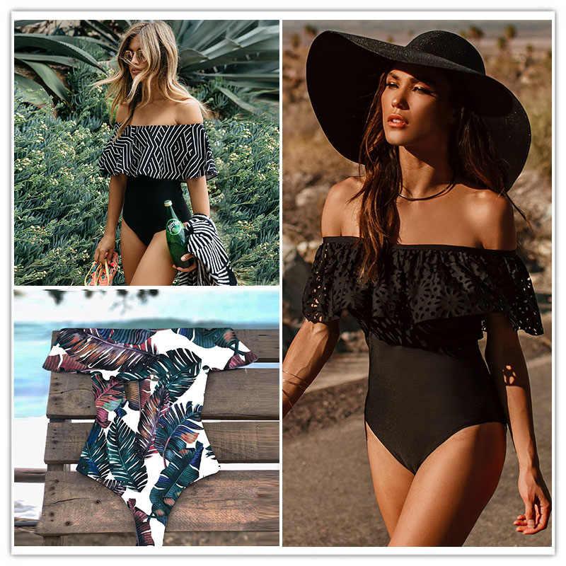 2018 nowy Sexy Off The Shoulder stałe stroje kąpielowe kobiety One Piece kostium kąpielowy damski strój kąpielowy wzburzyć Monokini strój kąpielowy XL