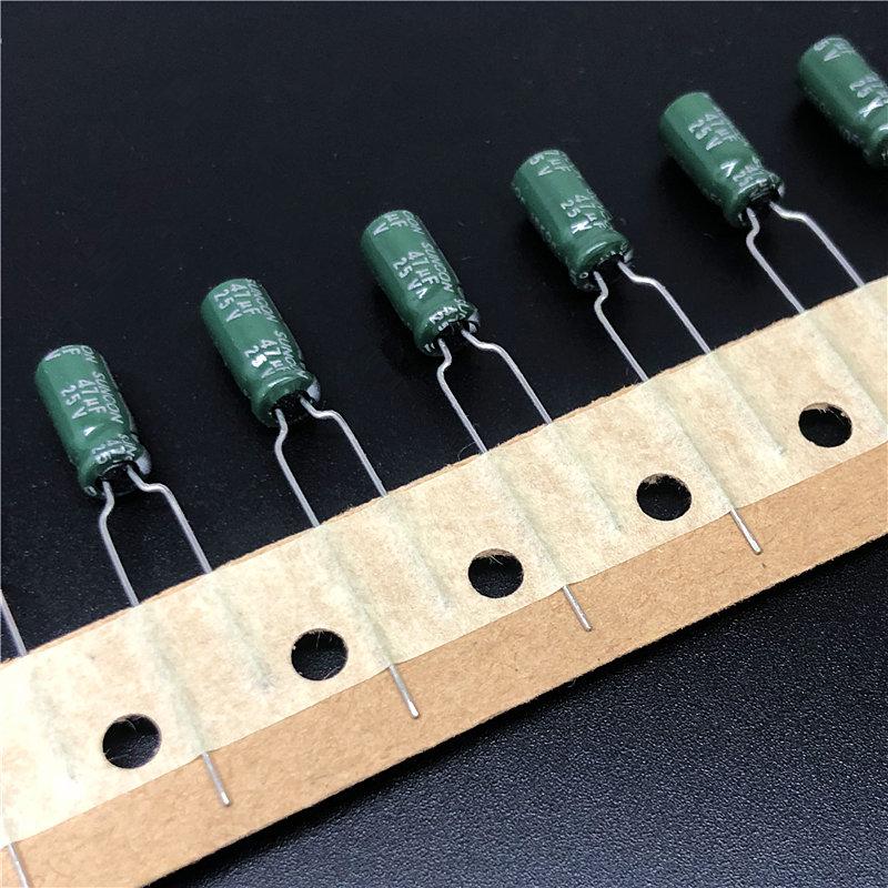 100Pcs 47uF 25V 6.3x5mm Aluminum Electrolytic Capacitors