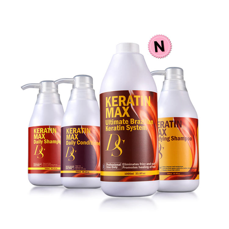 5% Formalin 1000ml Keratin DS Max Hair Treatment+500ml Purifying Shampoo+Daily Dry Shampoo and Deep Conditioner For Damage Hair image
