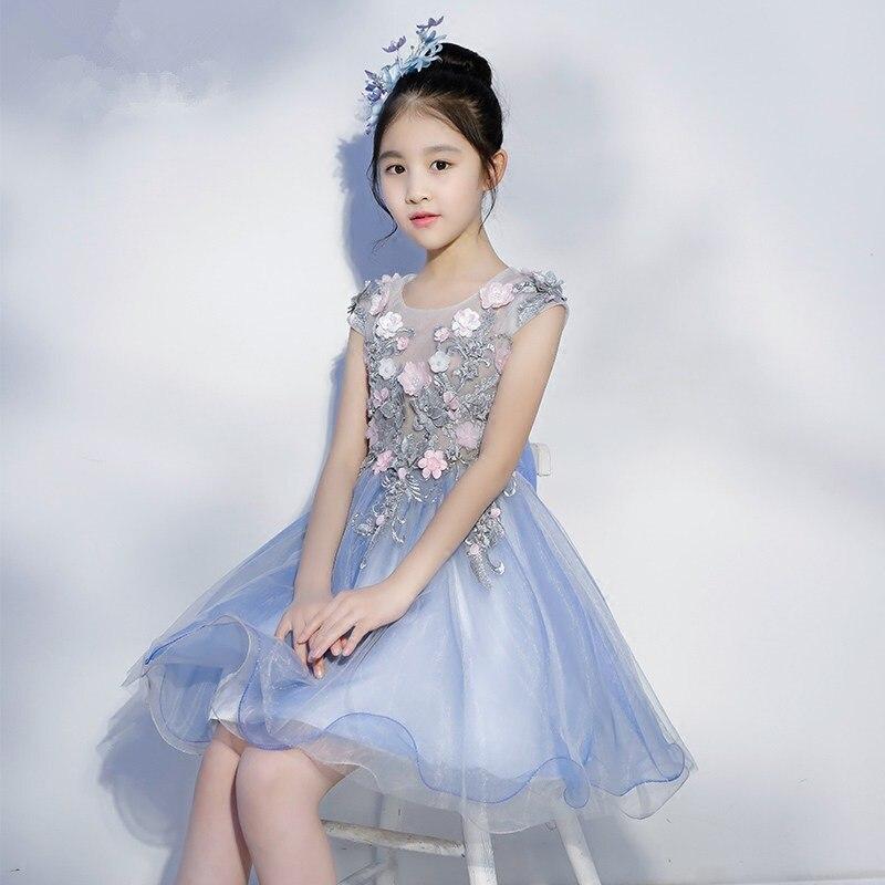 Blue CHILDREN'S Dress Princess Dress Girls Evening Dress Flower Girl At Host Tutu Season Catwalks Costume
