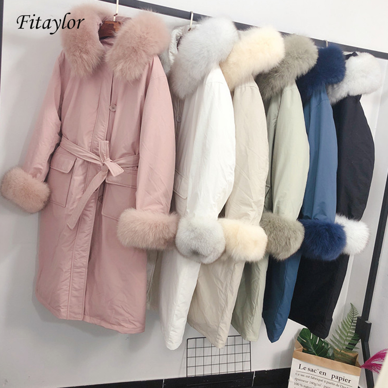 Fitaylor Large Natural Fur Collar Parkas New Winter Down Coat Women Hooded With Belt Long Jacket Female Warm Snow Outwear