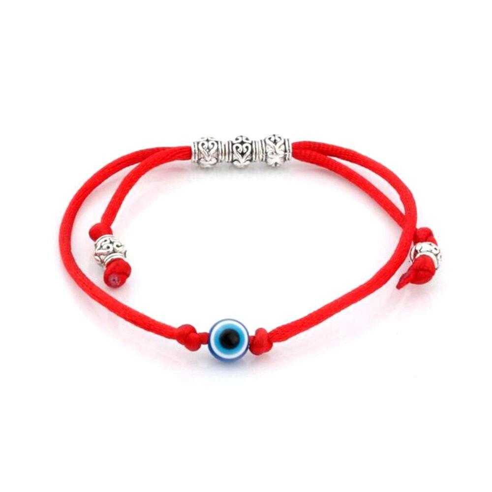 Proteção do Grânulo Acrílico Azul Olho Grânulo Kabbalah Red String Pulseira Liga Saúde Sorte Braceletes S11l05 10pc