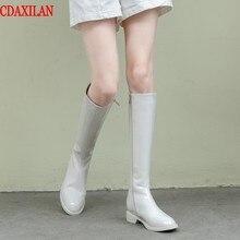 все цены на CDAXILAN new arrived women's knee-high boots genuine cow patent leather side zipper flat sole low-heels  round toe hight boots онлайн