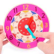 Crianças brinquedo de aprendizagem precoce relógio de madeira hora minuto segundo cognição colorido relógios brinquedos para crianças pré-escolar auxiliares ensino