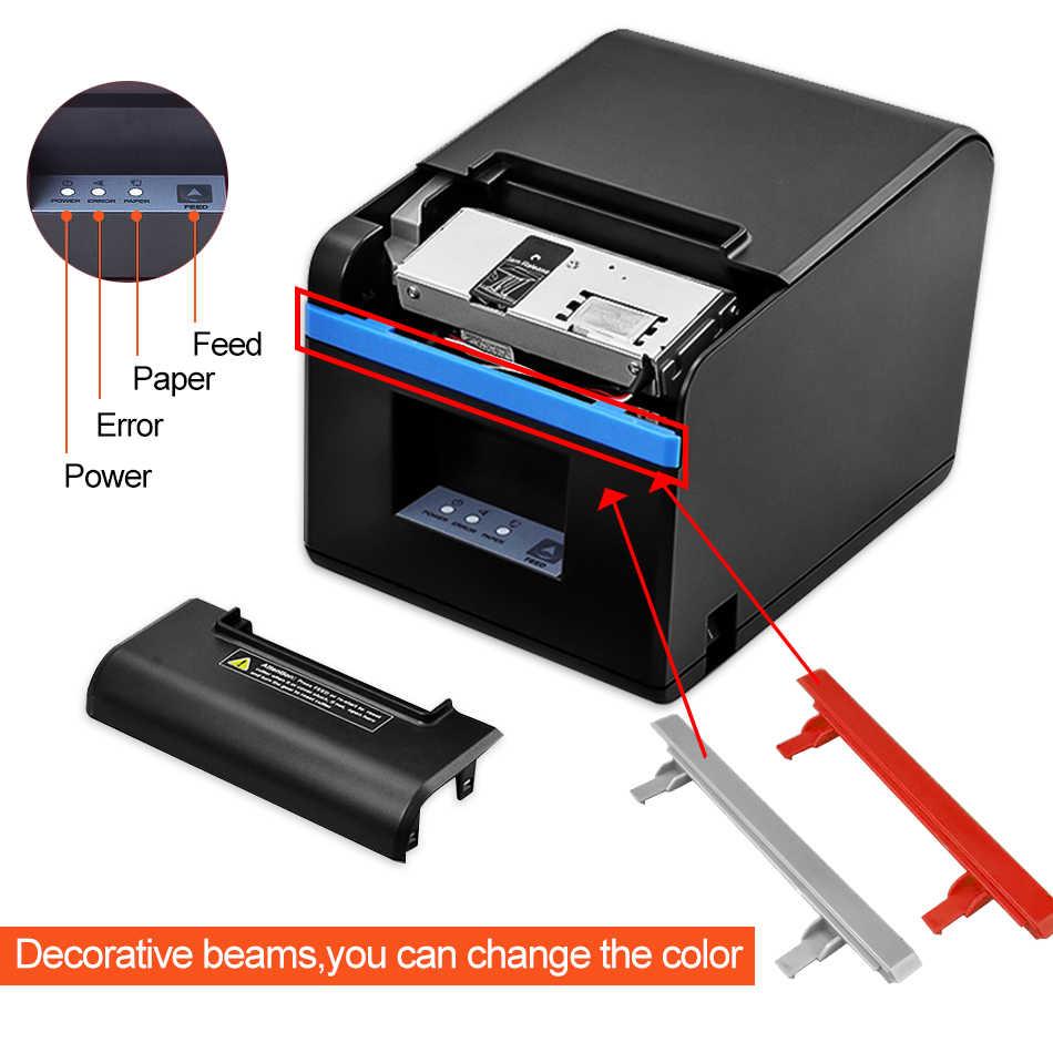 Impresora térmica de 80mm POS recibo de billetes, pequeño código de barras, cortador automático, cocina, POS térmica, Ethernet, LAN, USB, impresora 80mm