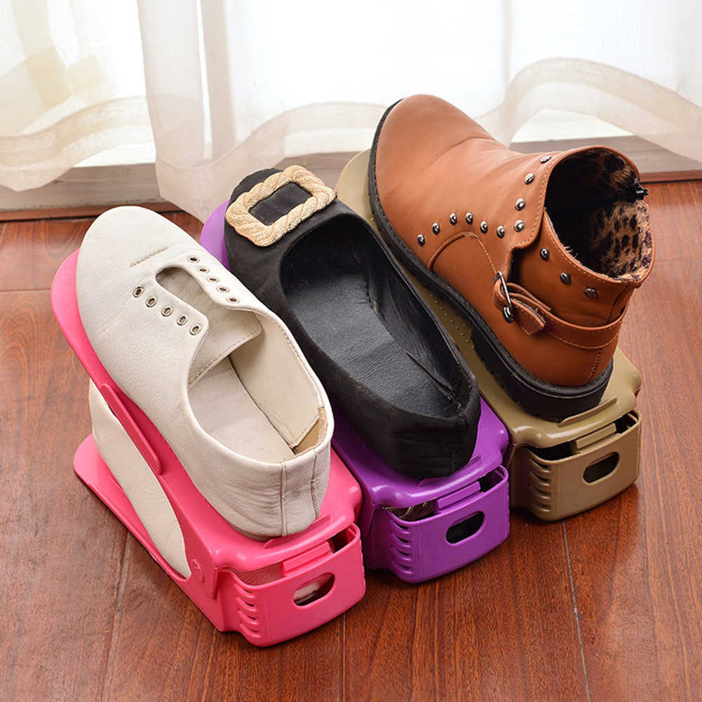 הנמכר ביותר מתכוונן כפול עבה נעל מדף לחסוך שטח אחסון תיבת צבעוני קיר מדף stand מדפי רחצה