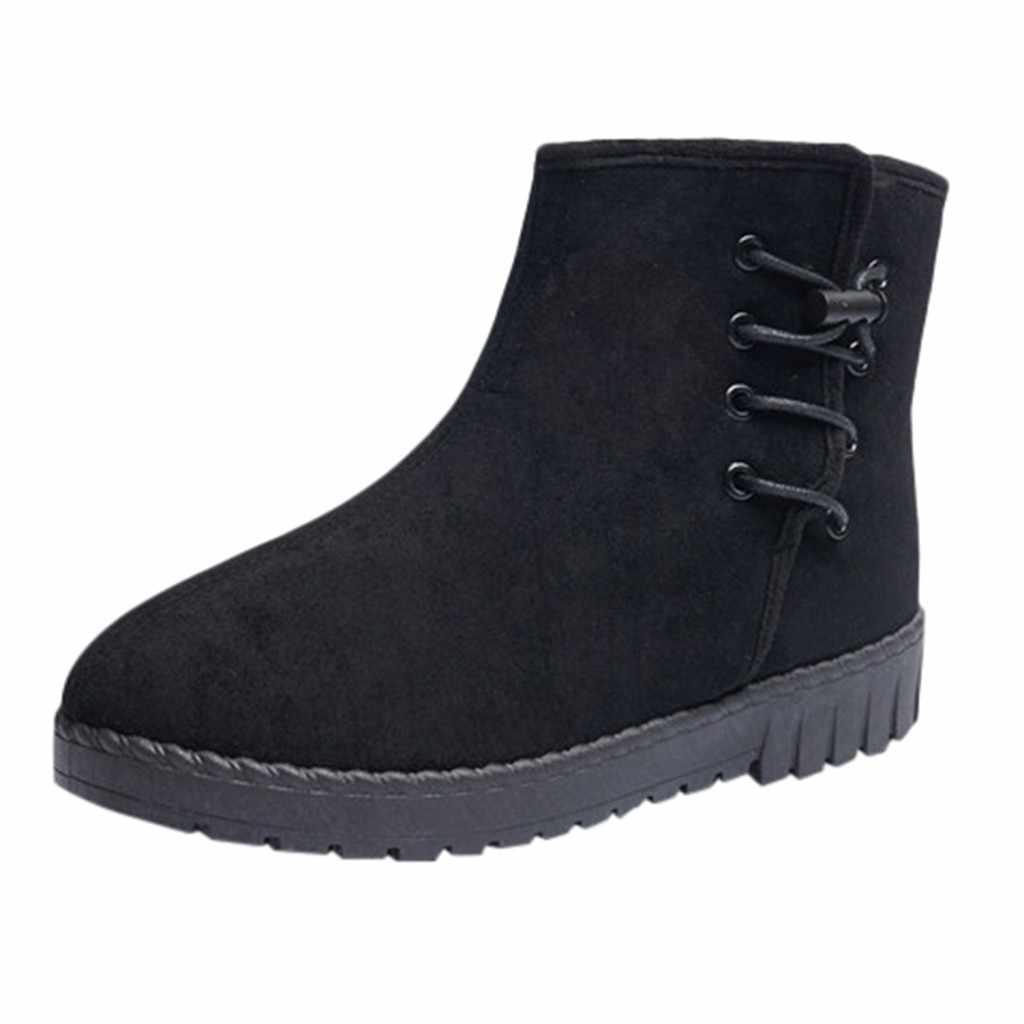Süet yarım çizmeler pamuk platform ayakkabılar kadın artı kadife kalın düz dipli katı sıcak çizmeler rahat iş ayakkabısı botas mujer