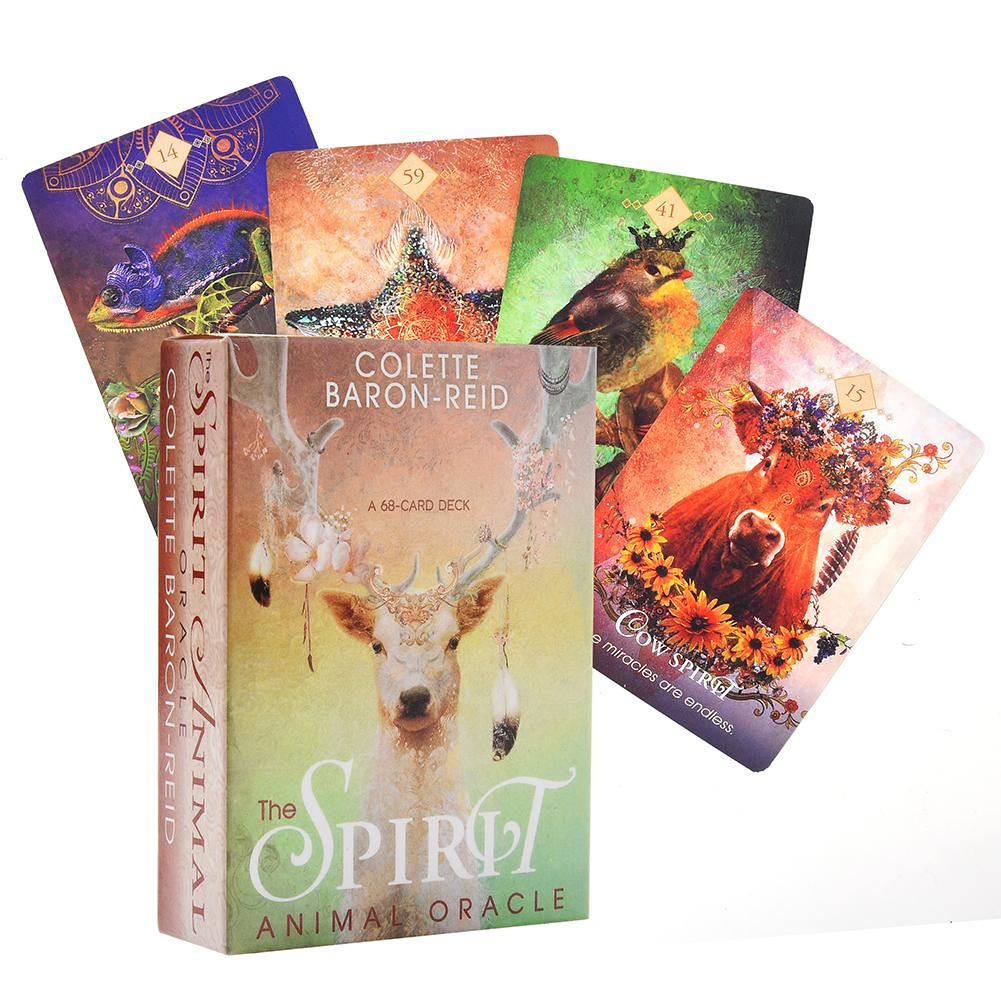 68PCS The Spirit Animal Oracle Card Tarot Cards Deck Board Games English Tarot Card Game For Family Party Fun Playing Games