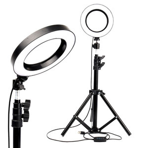Image 4 - LED Selfie Ring Licht 26cm/16cm Kamera Foto Studio Licht Dimmbare Fotografie Füllen Lampe Für Live Video mit Stativ Telefon Halter