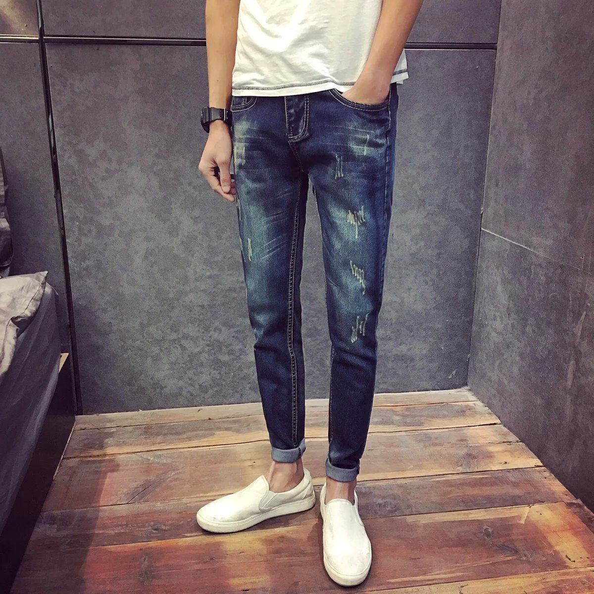 Japanese-style Retro Boys Jeans Young MEN'S Cat Whisker Korean-style Skinny Pants Fashion Man Slim Fit Trousers Spring Clothing